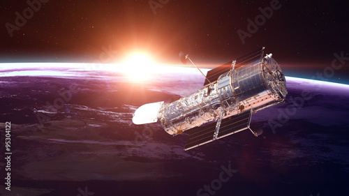 Fotografia, Obraz The Hubble Space Telescope in orbit above the Earth