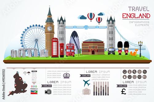 Fotografia Info graphics travel and landmark england template design