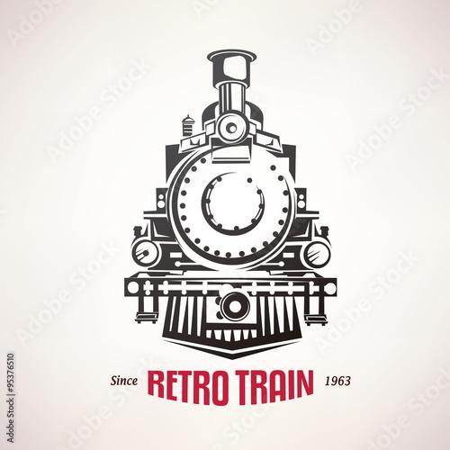 Obraz na plátně retro train, vintage  vector symbol, emblem, label template