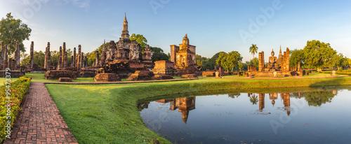 Canvas Print panorama of Sukothai Historical Park - Thailand