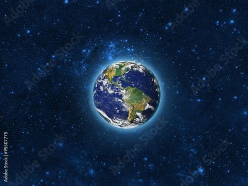 Plakat Planeta Ziemia w kosmosie  Wyimaginowany widok niebieskiej świecącej orbity ziemi w polu gwiazdy  Abstrakcjonistyczny kosmos w ciemnej galaktyki naukowej astronomii tle  Elementy tego obrazu dostarczone przez NASA