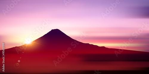 富士山 日の出 風景 背景 Fototapeta