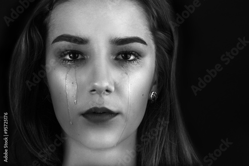 Canvas Print beautiful woman crying