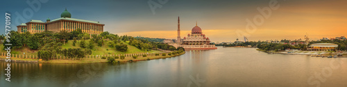 Photo Sunset over Putrajaya Mosque and Panorama of Kuala Lumpur