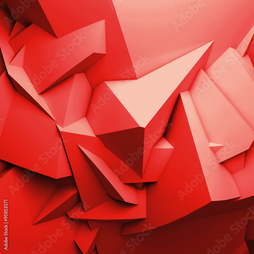 Abstract red digital 3d chaotic polygonal surface #95853571