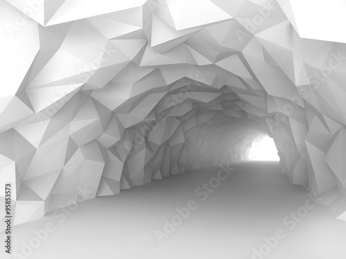 Tunnel interior with chaotic polygonal relief of walls