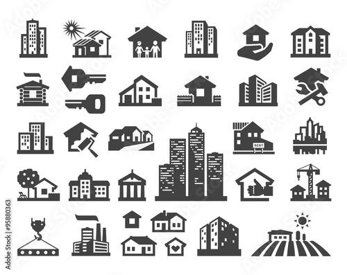 Leinwand Poster house vector logo design template. estate or building icons