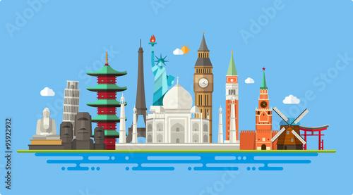 Photo Illustration  of flat design postcard with famous world landmark