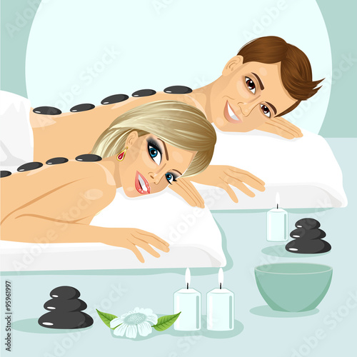 attractive young couple on a spa #95961997
