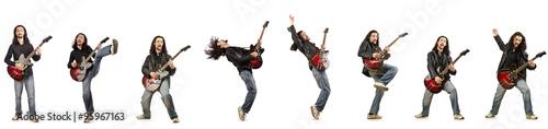Obraz na plátně Funny guitar player isolated on white