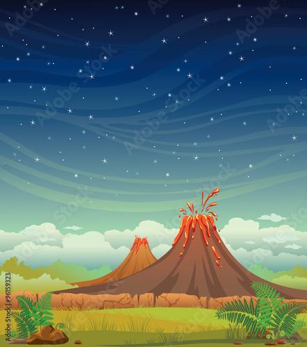 Prehistoric night landscape with volcanoes. Fototapete