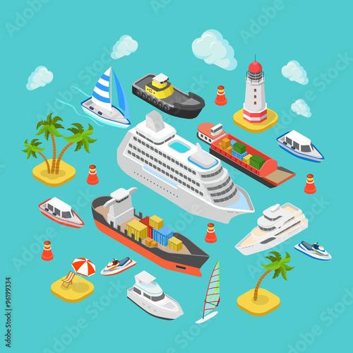 Ocean nautical water transport logistics flat isometric vector Poster Mural XXL
