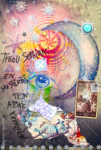 Fotografering Esoteric graffiti with starry moon,scraps and stamps