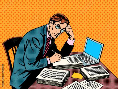 Fototapeta Writer editor journalist academic thesis paper laptop