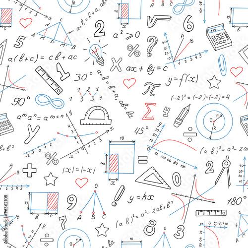 Bezszwowy tło z formułami i mapami na temat matematyki i edukaci, barwiony markier na białym tle