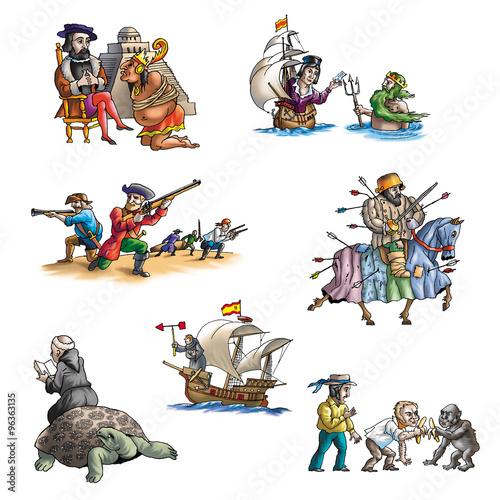 Cuadros en Lienzo The celebrated explorer in America_4