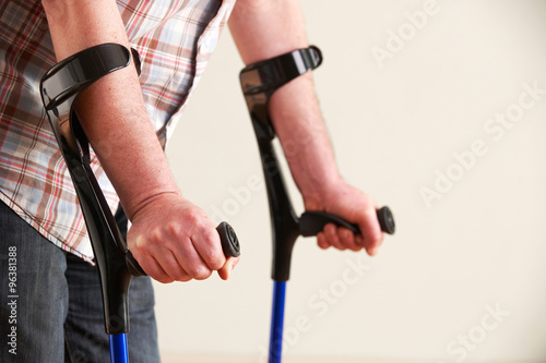 Close Up Of Man Using Crutches Fototapete