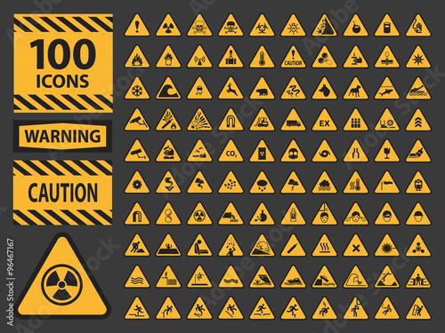 Fotografie, Obraz Vector icn set triangle yellow warning caution hazard signs.