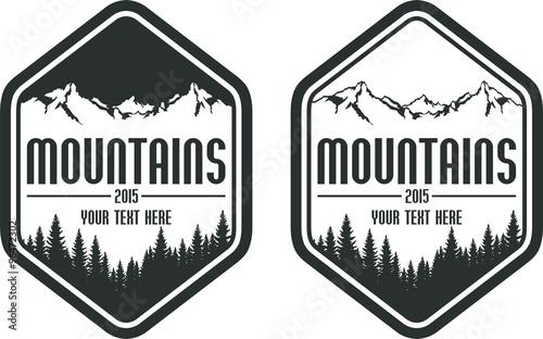 Canvas Print vector mountains emblems