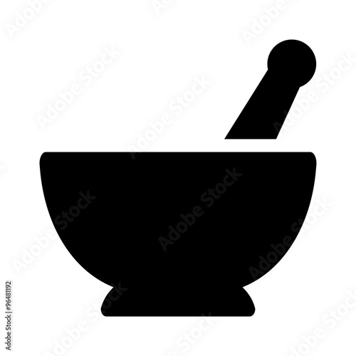 Fotografia Mortar and pestle pharmacy flat icon for apps and websites