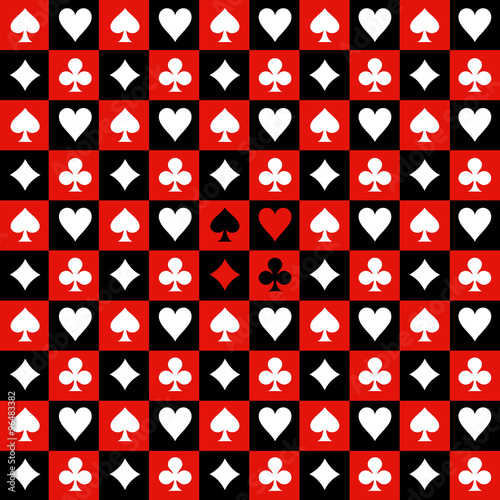 Canvas Print Card Suit Chess Board Red Black Background Vector Illustration