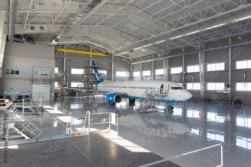 aircraft in hangar Fototapeta