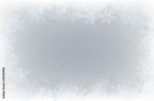 Fotografia Border of various snowflakes on light grey background.
