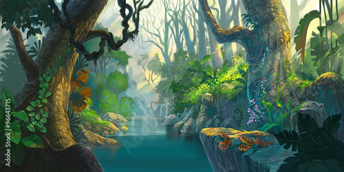 fantasy forest painting #96643715