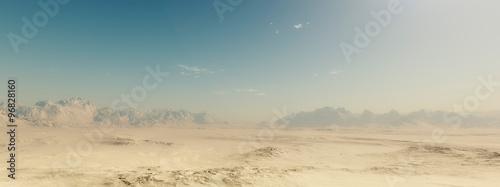 Fotografering Sandy desert landscape with blue sky.
