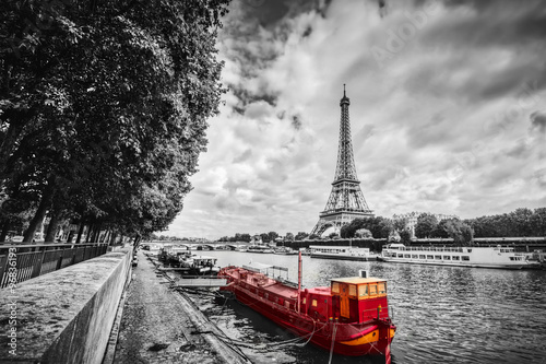 Eiffel Tower over Seine river in Paris, France. Vintage