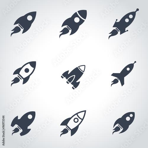 Stampa su Tela Vector black rocket icon set