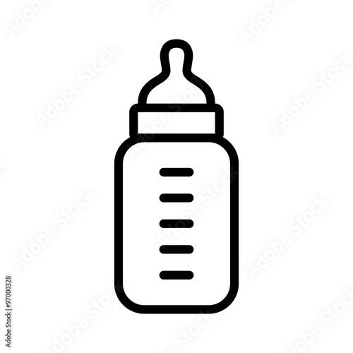 Vászonkép Baby milk bottle line art icon for apps and websites