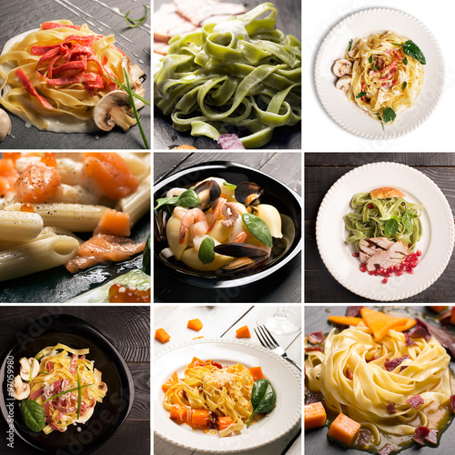 Collage from different photos of Italian pasta #97059980