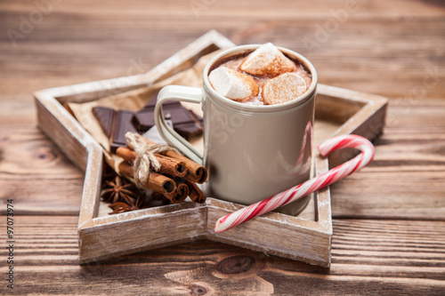 Cocoa drink with marshmallows #97073974