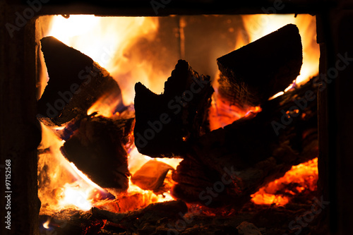 fire in a fireplace #97152568