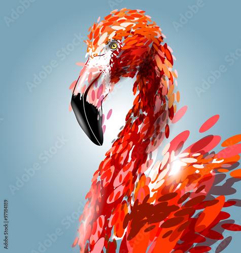 Valokuvatapetti Vector illustration of flamingo