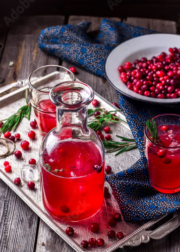 Friut drink and berries on vintage metal tray. #97352783