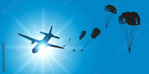 Wallpaper Mural AVION Parachutistes