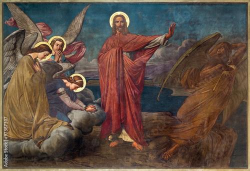 Fotografia Antwerp - Fresco of Temptation of Jesus in Joriskerk or st
