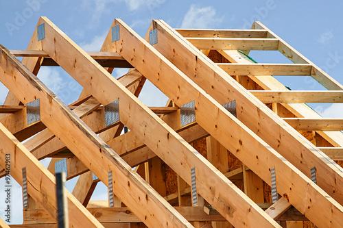 Obraz na płótnie Standard timber frame roof structure