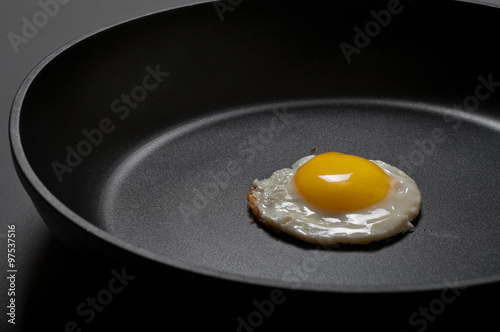 Fried eggs in the new black non-stick frying pan