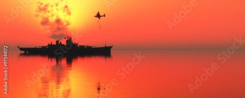 Fotografía sunset and militaryboat