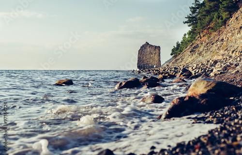 Cliff Sail on coast of Black sea #97554724