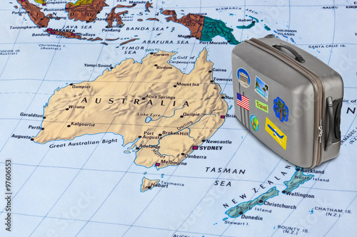 Wallpaper Mural Australia map and travel case with stickers (my photos)