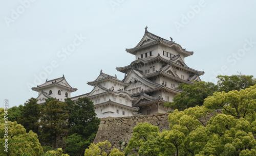 Himeji Castle With Trees, Kansai, Japan #97647579