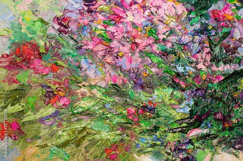 Tekstura obrazu olejnego, kolor obrazu malowanego, farba,