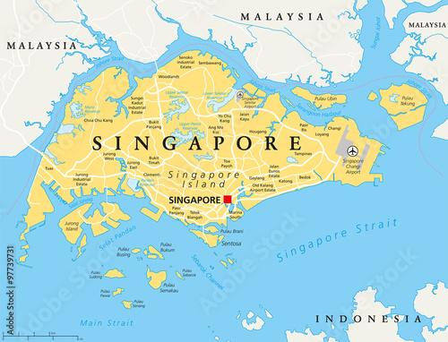 Fototapeta premium Mapa polityczna wyspy Singapur ze stolicą Singapuru, granicami państwowymi i ważnymi miastami. Angielskie etykietowanie i skalowanie. Ilustracja.