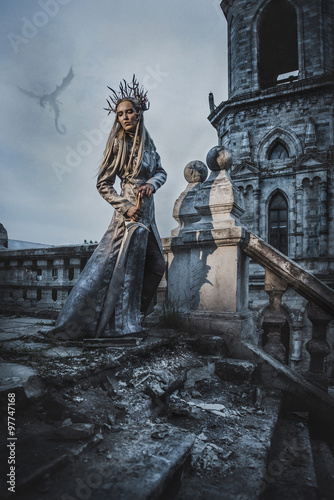 The king of elves in old ruined city #97747168