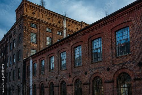 Facade of an old textile factory, Lodz, Poland