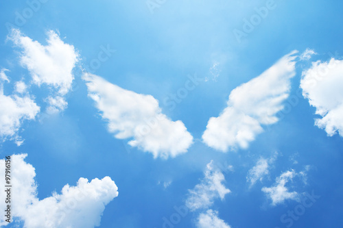 Canvas Angel wings formed from clouds.